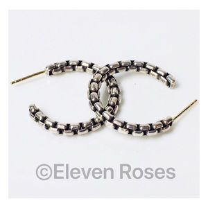 David Yurman Box Chain Hoop Earrings